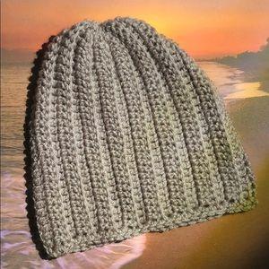 Gray winter beanie hat handmade soft yarn